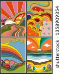 isolated psychedelic posters ... | Shutterstock .eps vector #1358909354