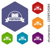 emblem fortress icons vector... | Shutterstock .eps vector #1358924084