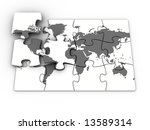 conceptual puzzle with earth... | Shutterstock . vector #13589314