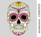 day of the dead colorful skull... | Shutterstock .eps vector #135895925