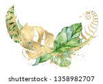 watercolor tropical wreath with ... | Shutterstock . vector #1358982707