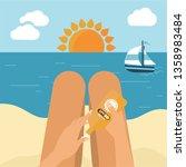 young girl sunbathes on a beach ... | Shutterstock .eps vector #1358983484