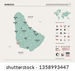 vector map of barbados.  high... | Shutterstock .eps vector #1358993447