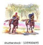 Watercolor Painting Horse Racing