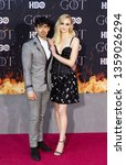 Small photo of New York, NY - April 3, 2019: Joe Jonas and Sophie Turner attend HBO Game of Thrones final season premiere at Radion City Music Hall