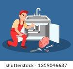 plumber master wrench in hand... | Shutterstock .eps vector #1359046637