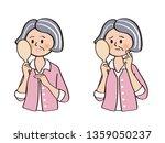 senior woman checking skin | Shutterstock .eps vector #1359050237