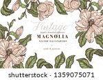 vintage card with magnolia... | Shutterstock .eps vector #1359075071