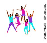 happy people. people in jump. a ... | Shutterstock .eps vector #1359089807