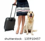 Girl In Dress With Dog And...