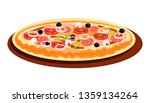 pizza with different flavours... | Shutterstock .eps vector #1359134264