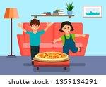 toddlers running for pizza... | Shutterstock .eps vector #1359134291