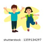 smiling brother and sister flat ... | Shutterstock .eps vector #1359134297