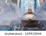 Log flume splashing water