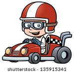 Vector illustration of Boy Racing - stock vector