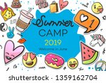 summer camp 2019 for kids... | Shutterstock .eps vector #1359162704