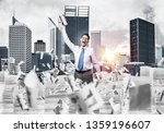 businessman keeping hand with... | Shutterstock . vector #1359196607