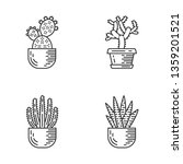 house cacti in pot linear icons ... | Shutterstock .eps vector #1359201521