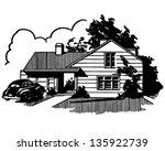 suburban house   retro clip art ... | Shutterstock .eps vector #135922739