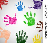 colored hand print icon  vector ...