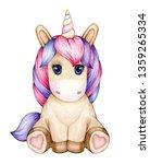cute  sitting baby unicorn... | Shutterstock . vector #1359265334