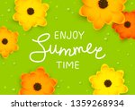 orange and yellow flowers with... | Shutterstock .eps vector #1359268934