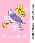 spring greeting card with cute... | Shutterstock .eps vector #1359268937