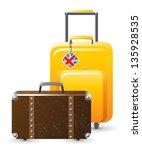 traveller's luggage over white... | Shutterstock .eps vector #135928535