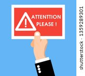 hand holding a caution red sign ... | Shutterstock .eps vector #1359289301
