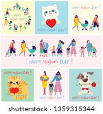 Stock vector colorful vector illustration concept of happy mother s day mothers with the children in the flat 1359315344