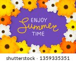 orange and yellow flowers frame ... | Shutterstock .eps vector #1359335351