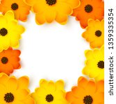 orange and yellow flowers frame ... | Shutterstock .eps vector #1359335354
