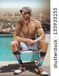 fashion portrait of shirtless... | Shutterstock . vector #135935255