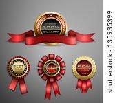 vector set of red award ribbons ...