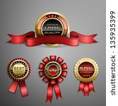 vector set of red award ribbons ... | Shutterstock .eps vector #135935399