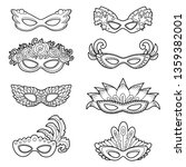 vector set of carnival masks ... | Shutterstock .eps vector #1359382001