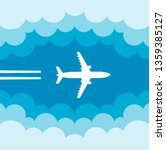 plane flying in clouds with... | Shutterstock .eps vector #1359385127