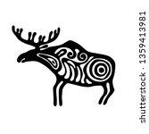 Elk. Prehistoric art. Amur petroglyphs. Vector. Archaeology. Cave painting.