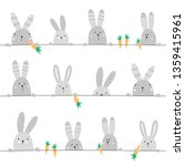 Stock vector cute seamless pattern with hares cute gray hare with carrot line hildish texture for fabric 1359415961