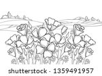 vector outline california poppy ... | Shutterstock .eps vector #1359491957