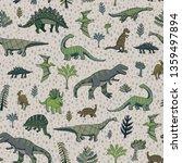 dinosaur vector seamless pattern | Shutterstock .eps vector #1359497894