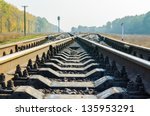 railway crossing - stock photo
