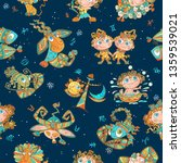 seamless pattern with zodiac... | Shutterstock .eps vector #1359539021