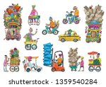 set of variety indian vehicles... | Shutterstock .eps vector #1359540284