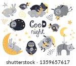 vector set of cute sleeping...   Shutterstock .eps vector #1359657617