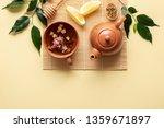 tea setting with teacup  teapot ...   Shutterstock . vector #1359671897