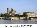 notre dame de paris in the... | Shutterstock . vector #13596799