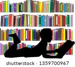 children reading the book. | Shutterstock .eps vector #1359700967