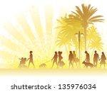 hot summer day  people walking... | Shutterstock .eps vector #135976034