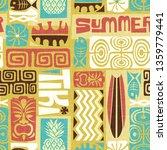 seamless exotic tiki pattern.... | Shutterstock .eps vector #1359779441